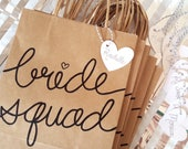 Bride Squad Gifts Bags for Bachelorette Party, Medium Kraft Bags with Handles, Hand Lettered, Sturdy Bottom, different font color choices