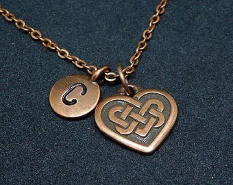 Copper Celtic Knot Heart with Initial necklace, personalized necklace