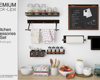 Kitchen Accessories Mockup | Kitchen Accessories | Kitchen Towel | Kitchen  Jars | Kitchen Jar Label