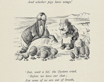 The time has come - quote poster Alice in Wonderland / Through the Looking-Glass poster  based on book illustration by J. Tenniel print #79