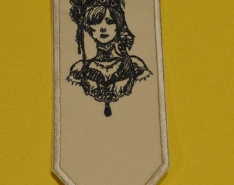 fabric with Lady bookmark