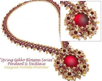 Spring Gekko Blossoms Series - Pendant & Necklace Set Needlework Tutorial PDF