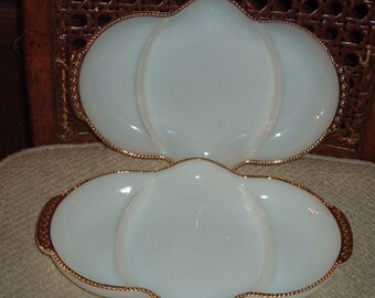 2 Milk Glass 3 Section 1950's  Relish Dishs-Vtg  Fire King  Oven Ware- Milk  Glass Divided Dish-Jewelry Vanity Trinket Tray