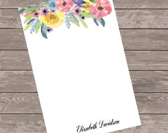 custom floral  note pad,  custom notepad, note pad, writing pad, custom stationery, personalized stationary