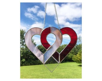 Stained Glass Linked Heart Sun-Catcher Red Pink Gift Decoration