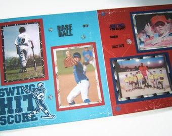 Baseball Scrapbook Pages - Premade Baseball Layouts - 12 by 12 Premade Baseball Pages - Baseball Scrapbook Layouts - Sports Pages - Baseball