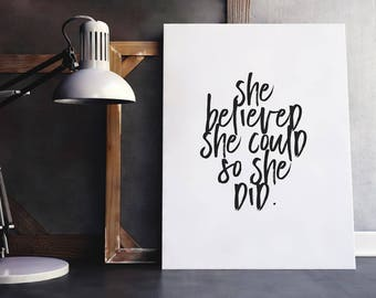 Women Quote She Believed She Could | Strong Women Print, Feminist Quote, Digital Download, Printable Poster, Female Empowerment, Girls Quote