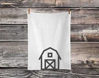 Barn - Flour Sack Dish Cloth - Farmhouse Style - Flour Sack Towels - Tea Towel
