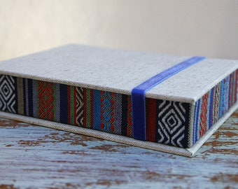 Discounted - Sale! Ethnic Box for Photos 4x6 in - Handmade  Tribal/Ethnic fabric Photo Storage | Presentation Box | Keepsake | Photo Album