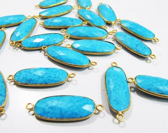 Turquoise Oval Shape Briolette Connector Double Loop, Size 22x27mm,Gold Plated Semi Precious Gemstone Bezel Stones Sold per Piece
