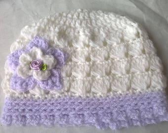 Handmade crocheted baby beanie.