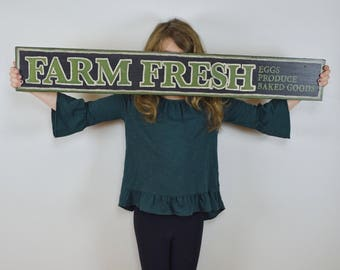Farm Fresh Farmhouse Sign // Handpainted Farmhouse Decor // Handpainted Sign