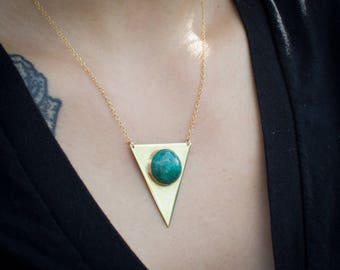 "Brass triangle necklace with chrysocolla stone on gold-filled 16-18"" chain."