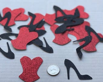 Corsets and High Heels Confetti- Bachelorette Table decoration- Bridal shower party decoration-Bachelorette Paper confetti