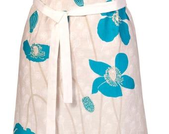 Aqua Poppies Linen Apron, European Linen, Adjustable Women's Linen Apron, Poppy's, Housewarming Gift, Birthday, Kitchen Linen, Womens Apron