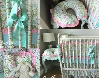 Aqua/Pink Floral Crib Bedding