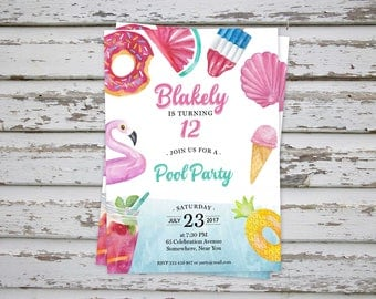 Pool Party Birthday Invitation, Teen Pool Party Invitation, Pool Birthday Invitation, Teen Invitation, Flamingo Pool Party Invitation