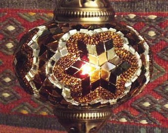 HANDMADE Turkish mosaic table lamp small/BROWN STAR- staind glass Living Roon, Bed room  All season Gift