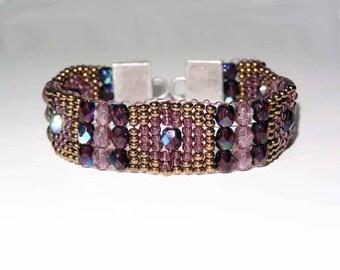 Gold and Silver Bead bracelet, 22K Gold Accent, SeadBead Bracelet,Amethyst Bracelet,Gift for her,Beaded Bracelet,Boho,Christmas Gift