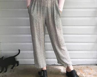 Vintage 1980s White & Black Semi Sheer Knit Trousers size M/L