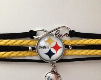 Pittsburgh Steelers Inspired Infinity Bracelet, Steelers Inspired Bracelet, Pittsburgh Steelers Inspired Jewelry, Ships From USA