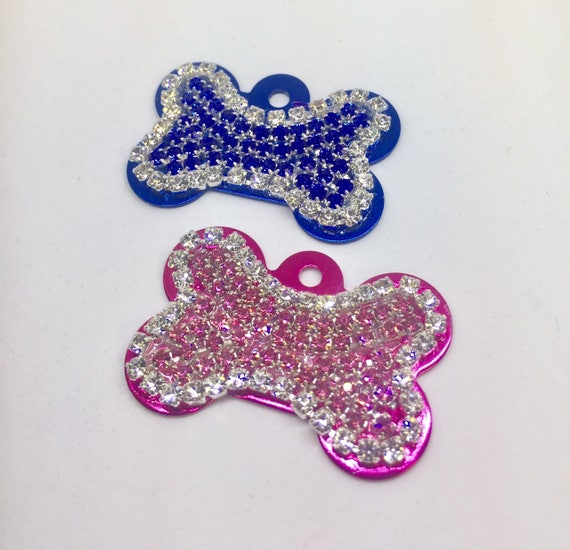 Engravable Personalized Dog Pet Pink Blue Purple Bone Engraved  ID Tags - High Quality Crystal Rhinestone - 5 Fonts!