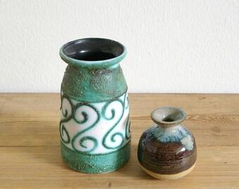 Vintage retro stoneware vases.Vintage green brown vase.Strehla West Germany stoneware.Home decor.70s vases ceramic.Pair vases stoneware aqua