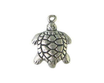 Handmade Oxidized 925 Sterling Silver Sea Turtle Charm Pendant, Handmade Findings - 1 pc.
