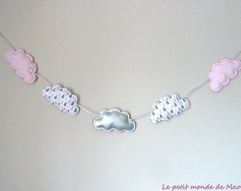 Silver drops fabric grey pink clouds Garland