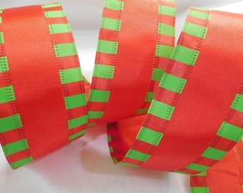 "10 Yards Red and Lime Green Satin and Woven Ribbon with Wired Edges - 2 1/2"" Wide - Festive - Christmas - Bows - Wreaths - Pkgs"