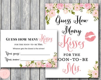 Mesmerizing image intended for guess how many kisses for the soon to be mrs free printable