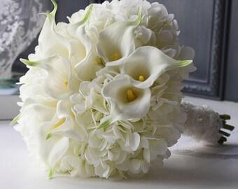 Handmade Natural Wedding real touch Bouquet-  Calla Lily Bridal Bridesmaid Bouquet, Rustic Wedding, Alternative Bouquet, Keepsake Bouquet