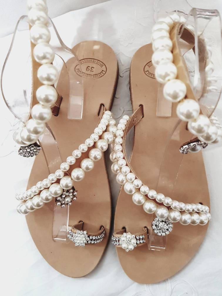 DHL FREE Greek Sandals Pearl Leather Wedding
