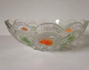 Cut Glass Fruit Bowl, Glass Trifle Bowl, 1950's Glass Bowl, Glass Fruit Bowl, Painted Glass Bowl, Vintage Glass Bowl, Glass Serving Bowl,