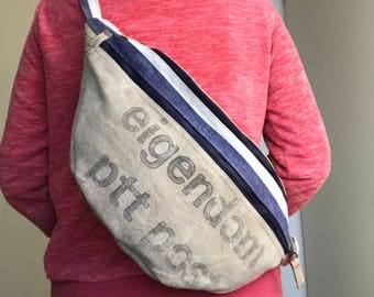 Repurposed Dutch postbag, crossbody bag