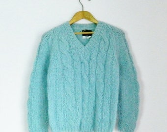 SALE 15% OFF Vintage 80s Pastel Blue Fluffy Mohair Cable-Knit Sweater - Size S