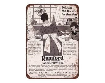 "1916 Rumford Baking Powder - Vintage Look Reproduction 9"" X 12"" Metal Sign"