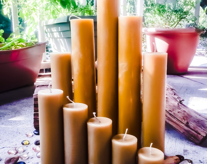 Set of 5 100% Pure Beeswax Pillar candles