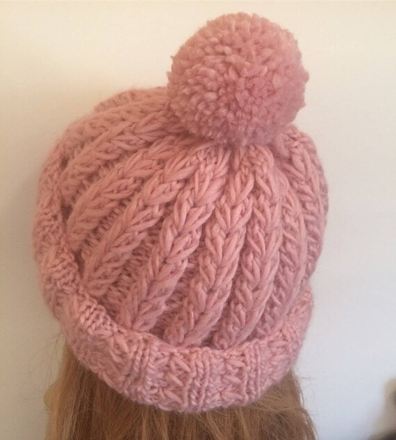 5be1527be68 Knit wool winter slouchy ribbed beanie.Hand knit light pink women ...
