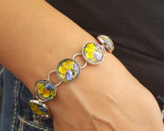 Mixed Pansy Bracelet in Silver Setting with Round Glass Cabochons Flower Jewelry Flower Bracelet Nature Jewelry Photo Jewelry Photo Bracelet