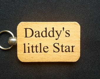 Wooden Keyring Key ring - Dad's Little Star - Birthday Gifts Father's day - New Dad Wooden gifts