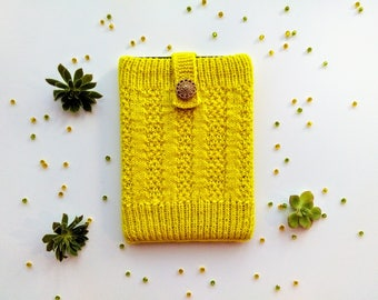 Yellow Hand Knitted Amazon Kindle Book Cover With Vintage Button, Woollen, Case, Pouch, Tablet/E-Reader Case, Electronic Case, eBook Cosy