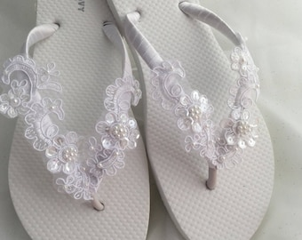 Bridal Flip Flop, Bridal Sandals, Braidsmaid Flip Flops Beach Wedding Sandals, Wedding Flip Flops, Wedding Destination Sandals