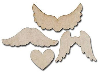 Maya Road  Wings to My Heart Wood Piece  Embellishments