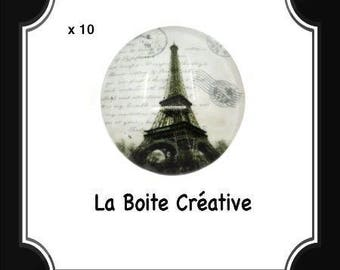 10 round 16 mm EIFFEL Tower glass CABOCHONS