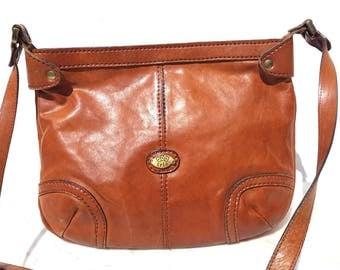 Vintage retro Purse / leather bag / Shoulder strap / Day bag / Clutch bag / Eighties leather / Brown