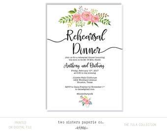 FLORAL REHEARSAL DINNER Invitation - Tula Collection - Floral Rehearsal Dinner - Pink Floral Rehearsal Dinner - Simple Rehearsal Dinner