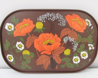 Vintage Marks and Spencer Poppy Design Melamime Tray Serving Tray Orange Brown 1970s Kitchenalia Vintage Caravan Vintage Camper Fab