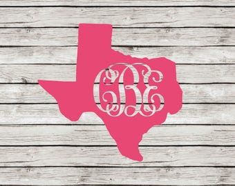 Monogram Curly Font State Decal, ANY STATE AVAILABLE!