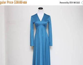 25% OFF VTG 60s-70s Victor Costa Empire Blue Maxi Dress S